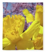 Spring Art Prints Yellow Daffodils Flowers Pink Blossoms Baslee Troutman Fleece Blanket
