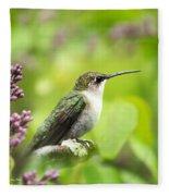 Spring Beauty Hummingbird Square Fleece Blanket