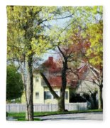 Spring Begins In The Suburbs Fleece Blanket