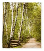 Spring Birches Woods Footpath Fleece Blanket