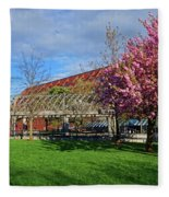 Spring Bloom At Christopher Columbus Park Boston Ma Cherry Blossoms Fleece Blanket