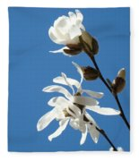 Spring Blue Sky Floral Art Print White Magnolia Tree Baslee Troutman Fleece Blanket