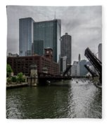 Spring Bridge Lift Scene In Chicago  Fleece Blanket