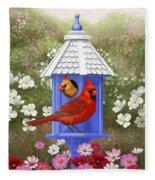Spring Cardinals Fleece Blanket