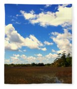 Spring Clouds Over The Marsh Fleece Blanket