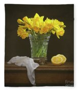 Spring Daffodil Flowers Fleece Blanket