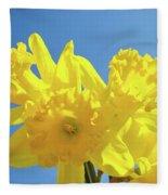 Spring Daffodils Flowers Garden Blue Sky Baslee Troutman Fleece Blanket