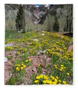 Spring Dandelion And Mountain Landscape Fleece Blanket