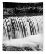 Spring Falls At Hodgson Grayscale Fleece Blanket
