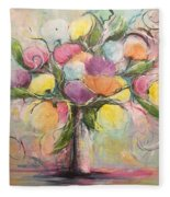 Spring Fling Flowers In A Vase Fleece Blanket