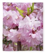 Spring Flowering Trees Art Prints Pink Flower Blossoms Baslee Fleece Blanket