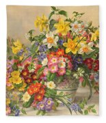 Spring Flowers And Poole Pottery Fleece Blanket