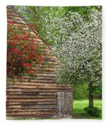 Spring Flowers And The Barn Fleece Blanket
