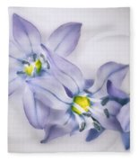 Spring Flowers On White Fleece Blanket