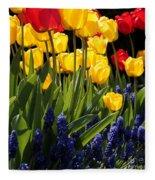 Spring Flowers Square Fleece Blanket