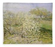 Spring. Fruit Trees In Bloom Fleece Blanket