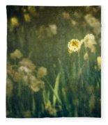 Spring Garden With Narcissus Flowers Fleece Blanket