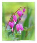 Spring Hearts - Flowers With Vignette 2 Fleece Blanket