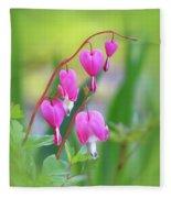 Spring Hearts - Flowers With Vignette Fleece Blanket