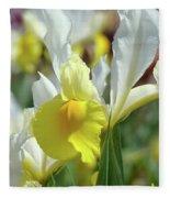 Spring Irises Flowers Art Prints Canvas Yellow White Iris Flowers Fleece Blanket