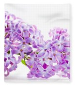 Spring Lilac Flowers Blooming Isolated On White Fleece Blanket