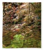 Spring Maple Leaves Over Japanese Garden Pond Fleece Blanket