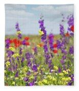 Spring Meadow With Flowers Nature Scene Fleece Blanket