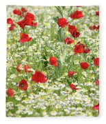 Spring Meadow With Poppy And Chamomile Flowers Fleece Blanket