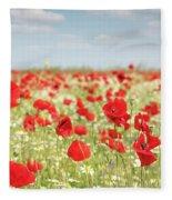 Spring Meadow With Wild Flowers Fleece Blanket