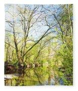 Spring On A Pennsylvania Stream, Fairmount Park, Philadelphia Fleece Blanket