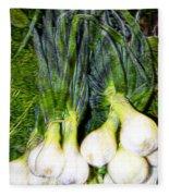 Spring Onions Fleece Blanket