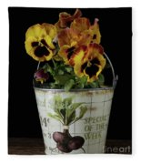 Spring Pansy Flowers In A Pail Fleece Blanket