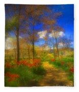 Spring Pathways Fleece Blanket
