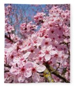 Spring Pink Tree Blossoms Art Print Baslee Troutman Fleece Blanket