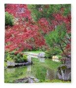 Spring Pond Reflection Fleece Blanket