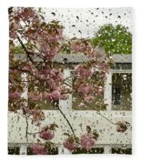 Spring Rain Outside The Window And Sakura Fleece Blanket