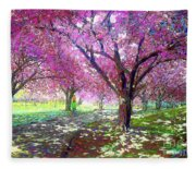 Spring Rhapsody, Happiness And Cherry Blossom Trees Fleece Blanket