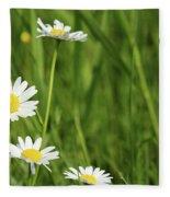 Spring Scene White Wild Flowers Fleece Blanket
