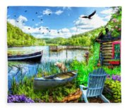 Spring Serenity At Lakeside Fleece Blanket