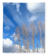 Spring Sky And Cotton Trees Fleece Blanket