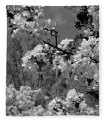 Spring Trees - B And W Fleece Blanket