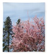 Spring Trees Bossoming Landscape Art Prints Pink Blossoms Clouds Sky  Fleece Blanket