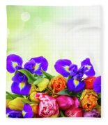 Spring Tulips And Irises Fleece Blanket