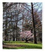 Spring Walk On Campus Fleece Blanket