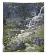 Spring Waterfall In The Tetons Fleece Blanket