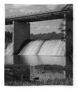 Springfield Lake Dam Grayscale Fleece Blanket