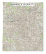 Springfield Missouri Us City Street Map Fleece Blanket