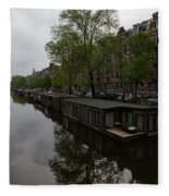 Springtime Amsterdam - Boathouses And Miniature Gardens Fleece Blanket