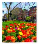 Springtime At Abingdon Square Park Fleece Blanket