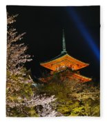 Springtime At Kiyomizu-dera Fleece Blanket